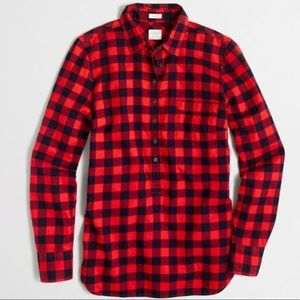 J. Crew Red Buffalo Plaid Perfect Fit Top
